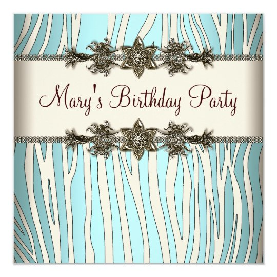 Ivory Teal Blue Zebra Womans Birthday Party Card