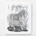 Ivory, the white stallion mouse pad