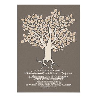 ivory tree elegant modern wedding invitations