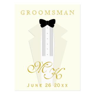 Ivory Tuxedo Groomsman Request Postcard, Custom Postcard