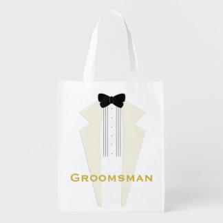 Ivory Tuxedo Groomsman Wedding Party Reusable Bag