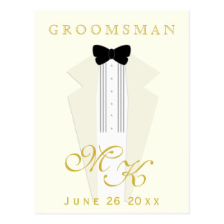 Ivory Tuxedo Wedding Groomsman Request Postcard
