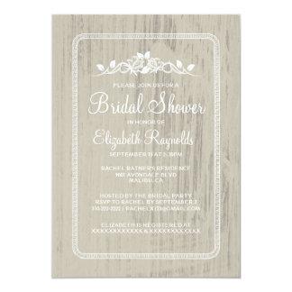 "Ivory Vintage Barn Wood Bridal Shower Invitations 5"" X 7"" Invitation Card"