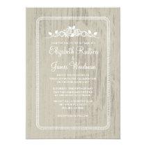Ivory Vintage Barn Wood Wedding Invitations Custom Announcement