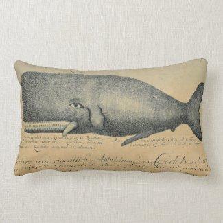 Ivory Vintage Beach Whale Lumbar Throw Lumbar Pillow