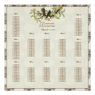 Ivory Vintage Birds Seating Chart Poster