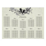 Ivory Vintage Birds Seating Chart Table Numbers Poster