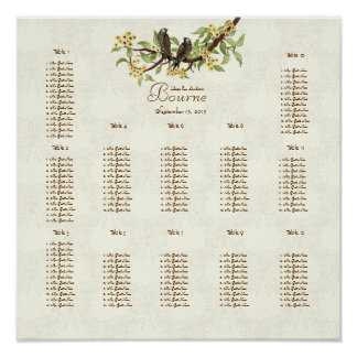 Ivory Vintage Birds Yellow Bloom Seating 12 Tables Poster