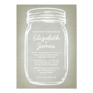 """Ivory Vintage Mason Jar Wedding Invitations 5"""" X 7"""" Invitation Card"""