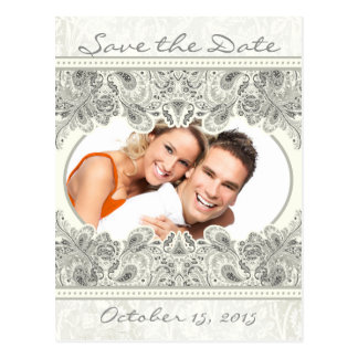 Ivory Vintage Paisley Save The Date Your Photos Postcard
