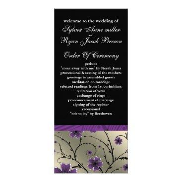 ivory violet  and black floral Wedding program