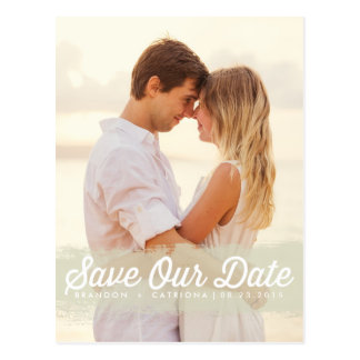 IVORY WATERCOLOR SPLASH | SAVE THE DATE POSTCARD