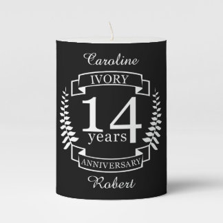 Ivory wedding anniversary 14 years pillar candle