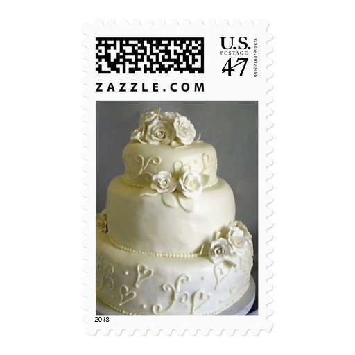 Ivory Wedding Cake Stamp Zazzle