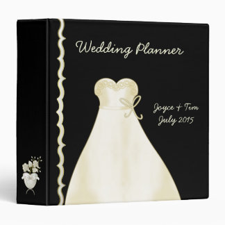 Ivory Wedding Dress and Border Planner 3 Ring Binder