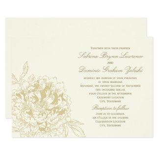 ivory wedding invitation gold floral peony - Ivory Wedding Invitations
