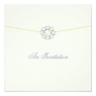 Ivory Wedding Invitation Pearl and Diamond Broach