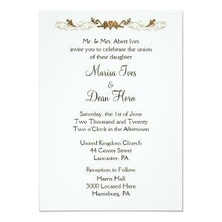 "Ivory Wedding Invitations 5"" X 7"" Invitation Card"