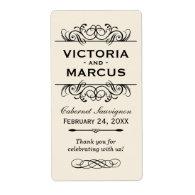 Ivory Wedding Wine Bottle Monogram Favor Labels