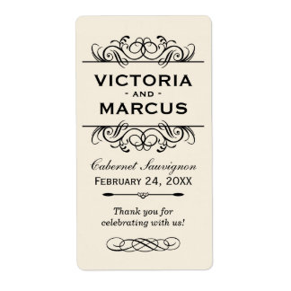 Ivory Wedding Wine Bottle Monogram Favor Labels