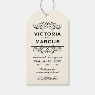 Ivory Wedding Wine Bottle Monogram Favor Tags Pack Of Gift Tags