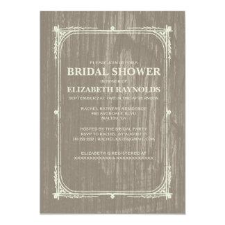 "Ivory Western Barn Wood Bridal Shower Invitations 5"" X 7"" Invitation Card"