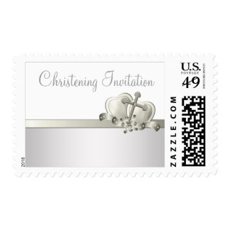 Ivory White Cross Baby Christening Postage Stamps