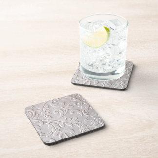 Ivory White Damask Beverage Coaster