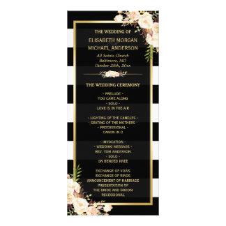 Ivory White Floral B&W Striped Wedding Program