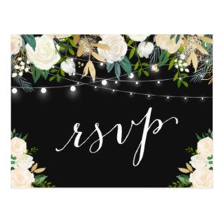 Ivory White Floral String Lights Wedding RSVP Postcard