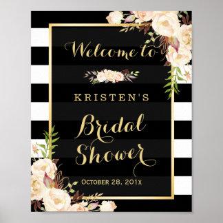 Ivory White Floral Stripes Bridal Shower Sign