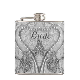 Ivory White Girly Lace And Purls Bride Flask