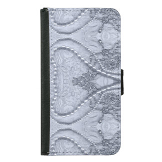 Ivory White Girly Lace And Purls Wallet Phone Case For Samsung Galaxy S5