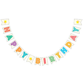 IVORY WHITE & MULTICOLOR TEXT ☆ HAPPY ☆ BIRTHDAY ☆ BUNTING FLAGS