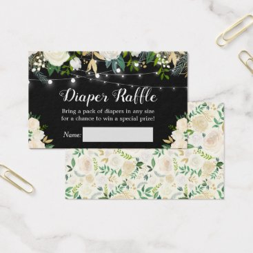 Toddler & Baby themed Ivory White Rose Floral Baby Shower Diaper Raffle Business Card