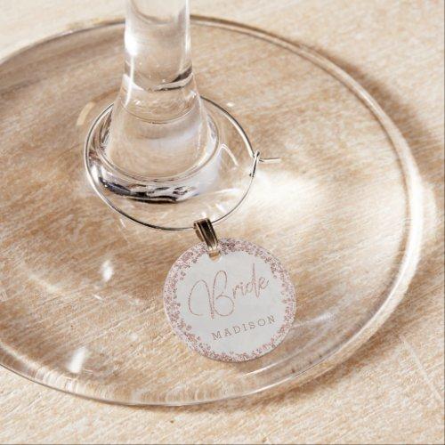 Ivory White  Rose Gold Bride Wedding Monogram Wine Charm