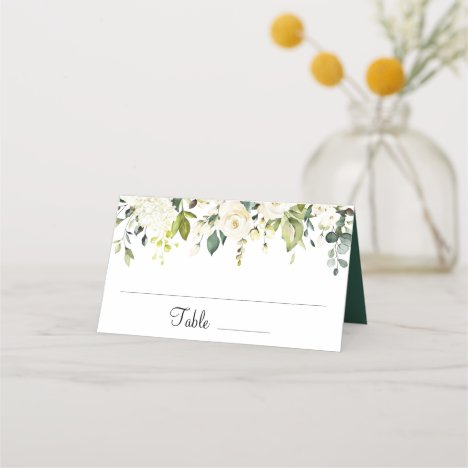 Ivory White Roses Floral Greenery Wedding Table Place Card