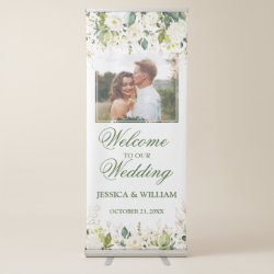 Ivory White Roses Floral PHOTO Wedding Welcome Retractable Banner
