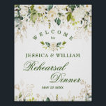 "Ivory White Roses  Floral Rehearsal Dinner Sign<br><div class=""desc"">Enjoy your Rehearsal Dinner with this unique poster with Ivory White Roses Floral . The default size is 8 x 10 inches, you can change it to a larger size. For further customization, please click the ""customize further"" link and use our design tool to modify this template. If you need...</div>"