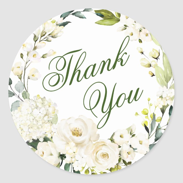 1000 Per Pack Ivory Floral Thank You Stickers 1 5 Circle Labels Color Coding Labels Office Products