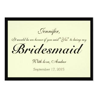 Ivory Will You Be My Bridesmaid Invitation