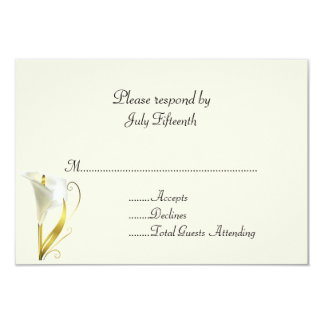 Ivory with Calla Lily Wedding RSVP Card Personalized Invitations