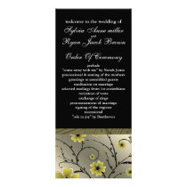ivory yellow and black floral Wedding program