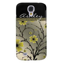 ivory yellow floral 3 casing samsung galaxy s4 cover