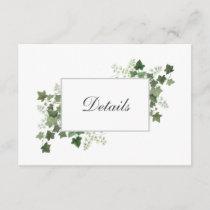 Ivy and Fern Wedding Details Enclosure Card