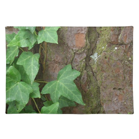 Ivy Climbing Tree Bark in the Rain Nature Cloth Placemat
