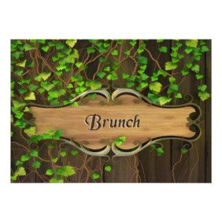 Ivy Covered Fence Carved Wood Plaque Brunch Invitation