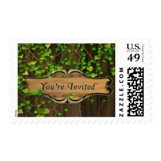 Ivy Covered Fence Carved Wood Plaque Invited Postage