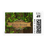 Ivy Covered Fence Carved Wood Plaque Invited Stamp