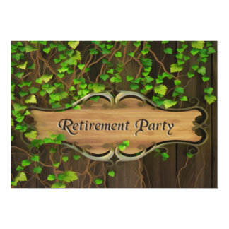 Ivy Covered Fence & Carved Wood Plaque Retirement Invite
